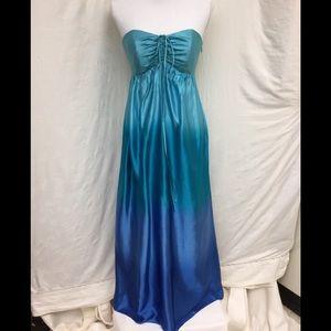 NWT Betsey Johnson blue strapless maxi dress.
